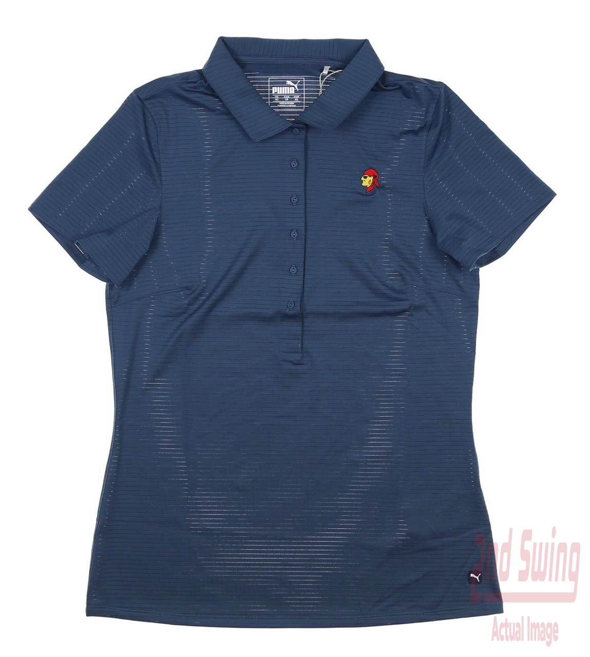 New W/ Logo Womens Puma Daily Golf Polo Small S Dark Denim MSRP $60 595826 04