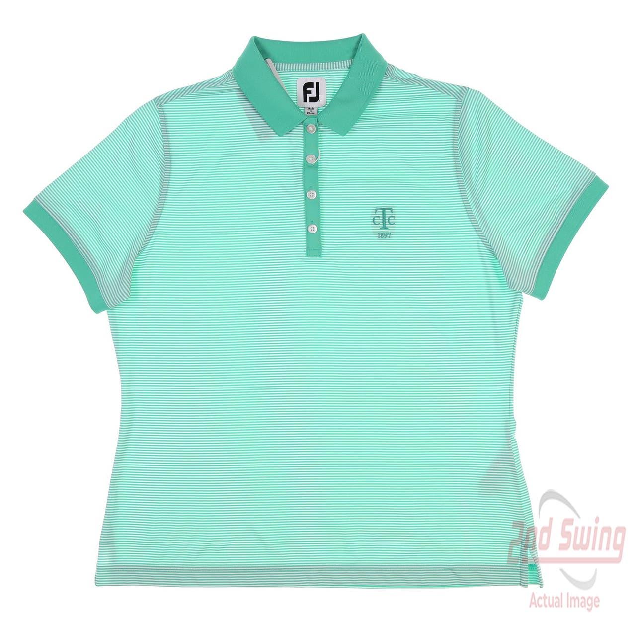 New W/ Logo Womens Footjoy Lisle Feeder Stripe Polo Large L Green 27460